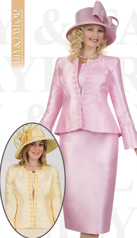 Lily And Taylor 4545-PI ( 3pc Silk Ladies Church Suit With Emboidered Design And flared Sleeves )