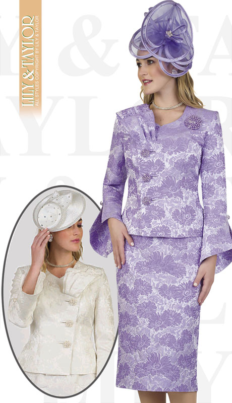 Lily And Taylor 4479-LA ( 2pc Novelty Floral Brocade Church Suit With Brooch And Offset Buttons )