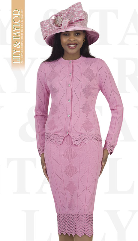 Lily And Taylor 674-PI ( 3pc Knit Womans Church Suit With Mixed Pattern )