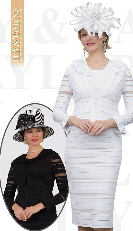Lily And Taylor 663-WH ( 3pc Knit Womans Church Suit With Striped Pattern And Ruffle Collar )