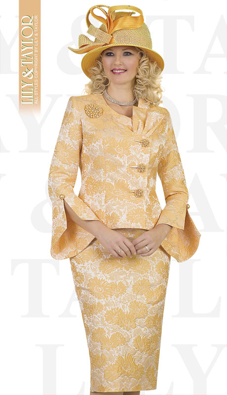Lily And Taylor 4479-YE ( 2pc Novelty Floral Brocade Church Suit With Brooch And Offset Buttons )