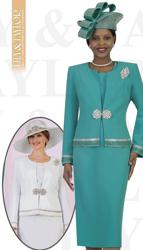 Lily And Taylor 4272-TE ( 3pc PeachSkin Ladies Church Suit With Jacket, Beaded Trim, Jeweled Clasp And Brooch )
