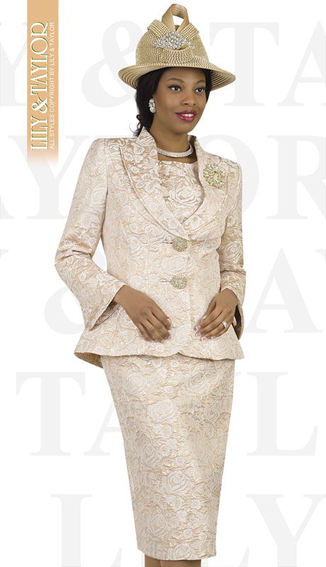 Lily And Taylor 4427-GO ( 3pc Novelty Floral Brocade Church Suit With Shawl Collar And Jeweled Brooch )