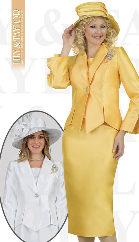 Lily And Taylor 4343-YE-IH ( 3pc Silk Ladies Church Suit With Jacket, Jeweled Button And Brooch )