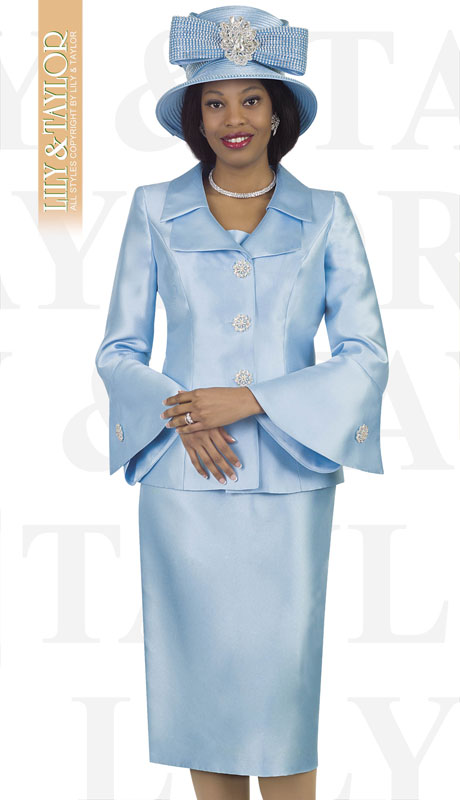 Lily And Taylor 4107-IC ( 2pc Silk Womans Church Suit With Jeweled Button Jacket And Wide Lapels )