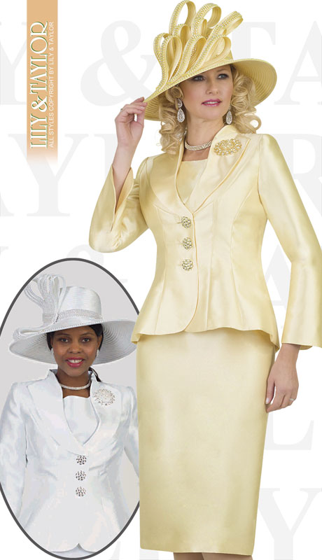 Lily And Taylor 4417-CA ( 3pc Silk Church Suit With Jeweled Buttons And Brooch )