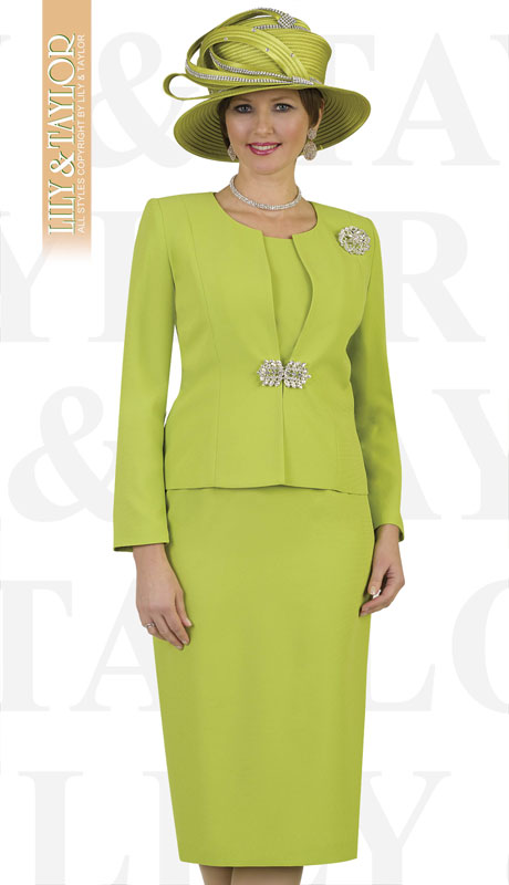 Lily And Taylor 3052-LI ( 3pc Ladies Church Suit With Rhinestone Clasp And Brooch )