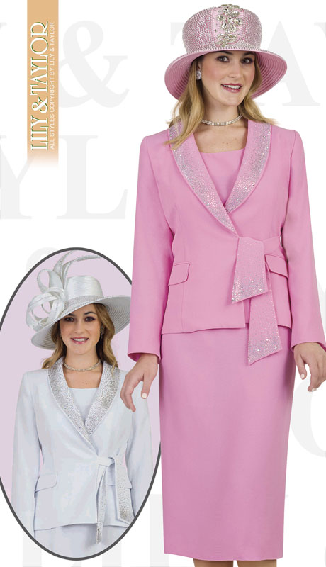 Lily & Taylor 4303-PI ( 3pc Ladies Crepe Skirt Suit With Sash And Rhinestone Trim )