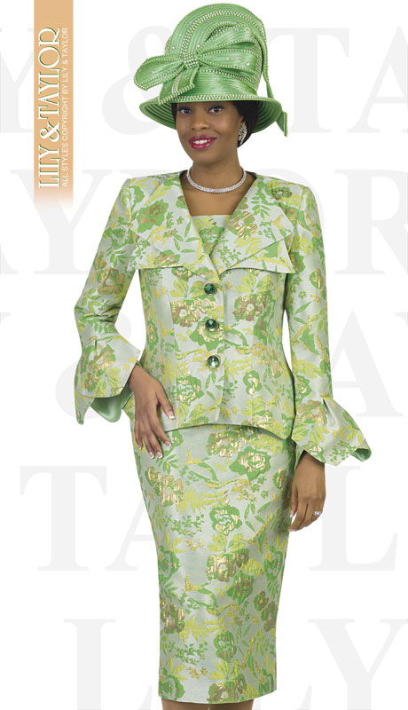 Lily And Taylor 4517-GR ( 2pc Novelty Floral Brocade Church Suit With Peplum Jacket And Offset Buttons )