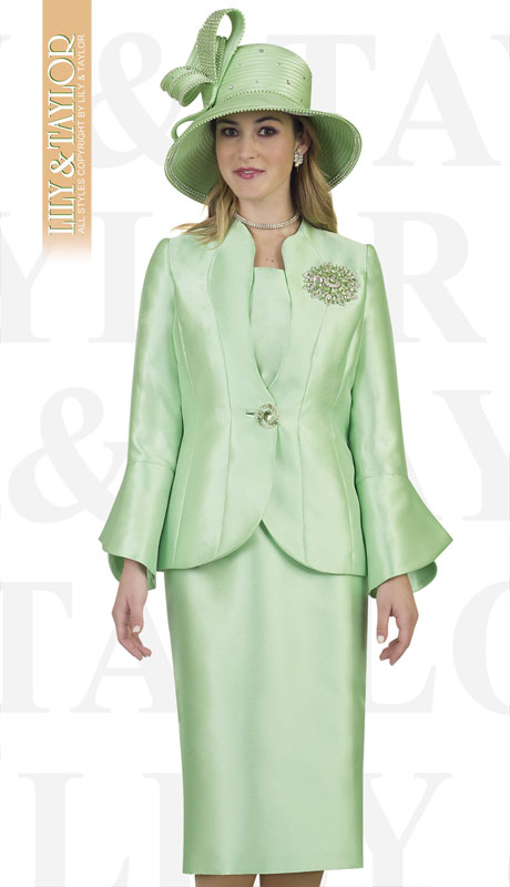 Lily And Taylor 4140-IC ( 3pc Ladies Silk Church Suit With Bell Sleeved Jacket And Exclusive Rhinestone Brooch )