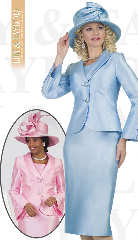 Lily And Taylor 4452-IC ( 3pc Silk Ladies Church Suit With Buttoned Sleeves )