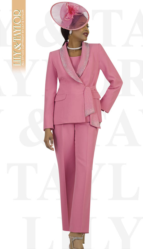 Lily And Taylor 4373-LR-IH ( 3pc Ladies PeachSkin Pant Suit With Rhinestone Collar And Trim )