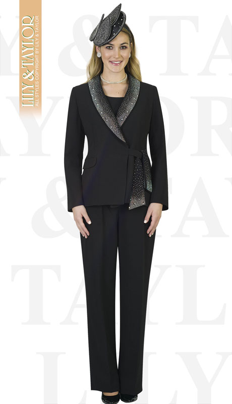 Lily And Taylor 4373-BL-IH ( 3pc Ladies PeachSkin Pant Suit With Rhinestone Collar And Trim )