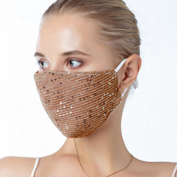FM-101-Shimmer-DR ( 1pc Designer Face Mask With Shimmering Sequins And Fabric, And Adjustable Ear Loops )