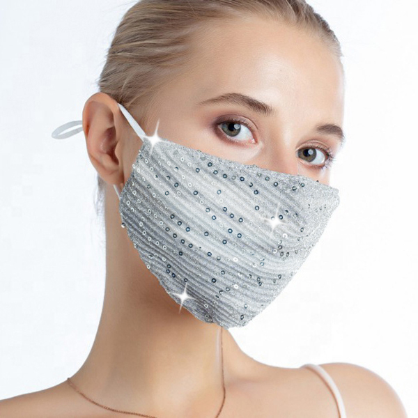 FM-101-Shimmer-SIL ( 1pc Designer Face Mask With Shimmering Sequins And Fabric, And Adjustable Ear Loops )