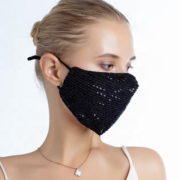 FM-101-Shimmer-BLK ( 1pc Designer Face Mask With Shimmering Sequins And Fabric, And Adjustable Ear Loops )