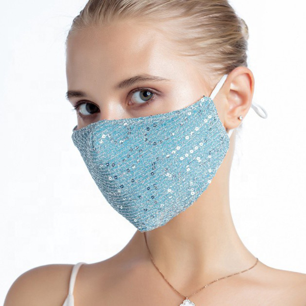 FM-101-Shimmer-AQ ( 1pc Designer Face Mask With Shimmering Sequins And Fabric, And Adjustable Ear Loops )