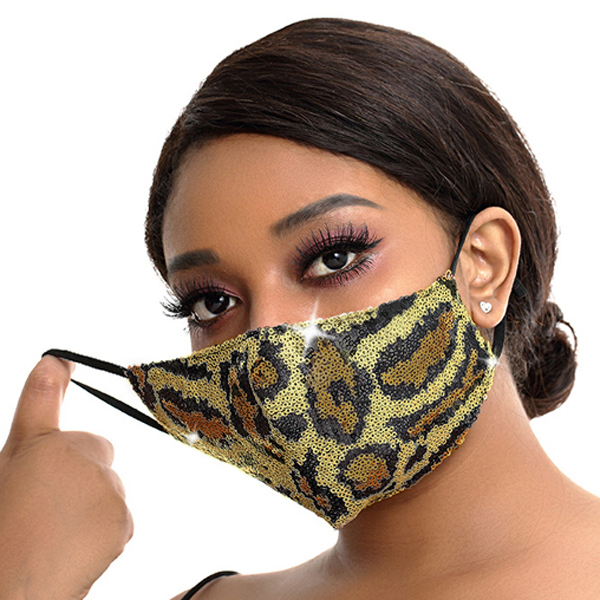 FM-100-Exotic-G ( 1pc Designer Face Mask With Sparkling Leopard Sequins And Adjustable Ear Loops )