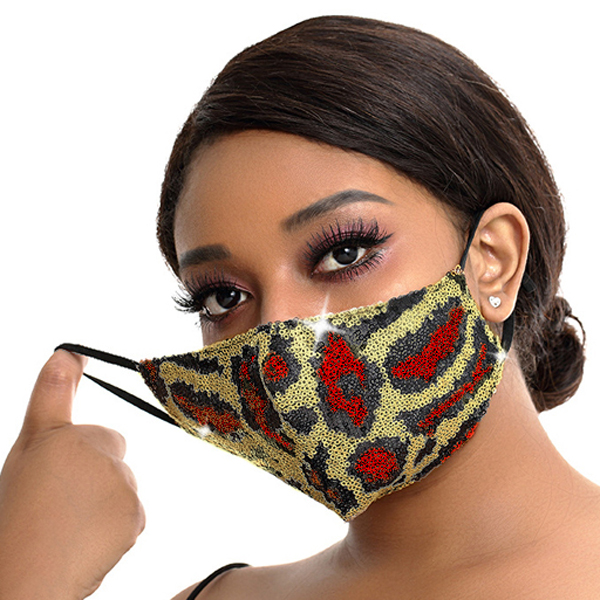 FM-100-Exotic-R ( 1pc Designer Face Mask With Sparkling Leopard Sequins And Adjustable Ear Loops )