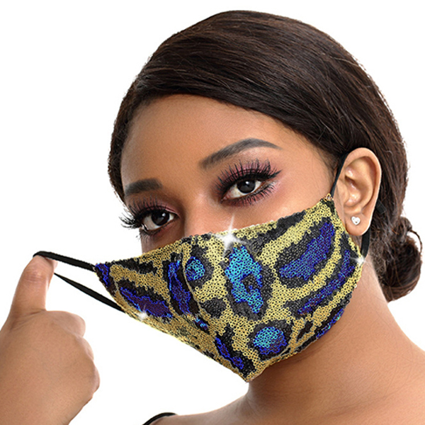 FM-100-Exotic-RO ( 1pc Designer Face Mask With Sparkling Leopard Sequins And Adjustable Ear Loops )