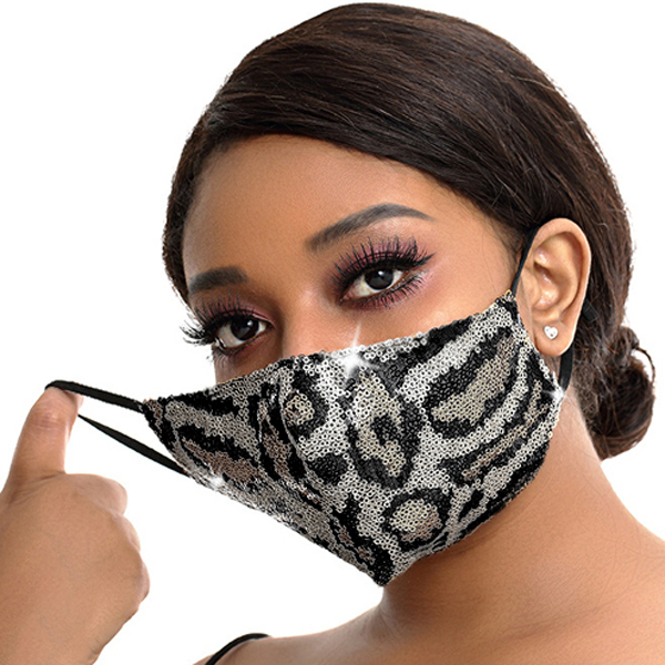 FM-100-Exotic-S ( 1pc Designer Face Mask With Sparkling Leopard Sequins And Adjustable Ear Loops )