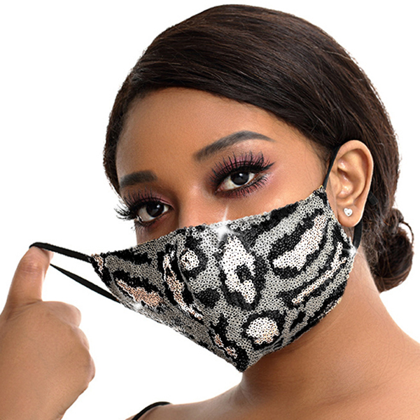 FM-100-Exotic-SIV ( 1pc Designer Face Mask With Sparkling Leopard Sequins And Adjustable Ear Loops )