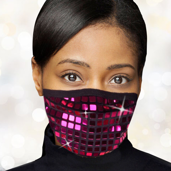 FM-104-Disco-V ( 1pc Designer Face Mask With Dazzling Geometric Design And Adjustable Ear Loops )