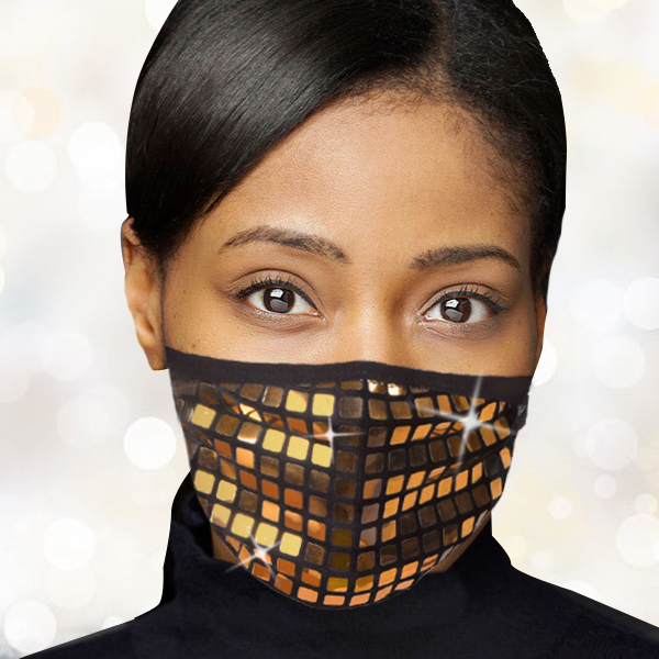 FM-104-Reflect-G ( 1pc Designer Face Mask With Dazzling Geometric Design And Adjustable Ear Loops )