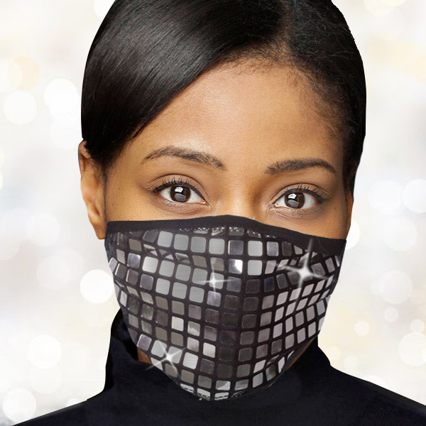 FM-104-Reflect-S ( 1pc Designer Face Mask With Dazzling Geometric Design And Adjustable Ear Loops )
