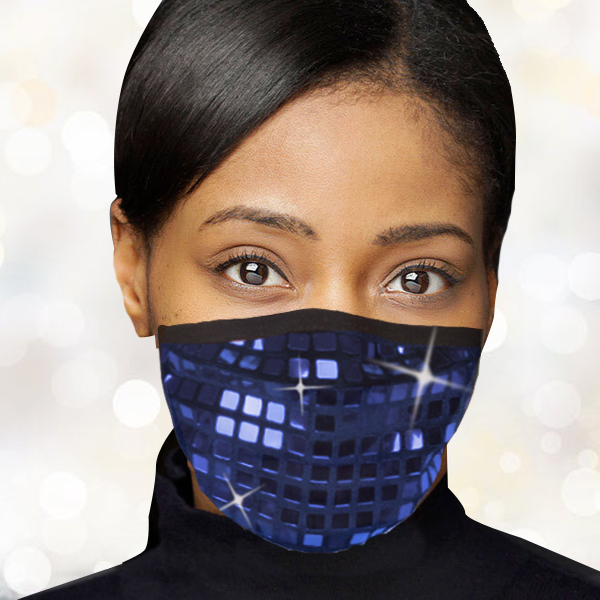 FM-104-Reflect-BL ( 1pc Designer Face Mask With Dazzling Geometric Design And Adjustable Ear Loops )