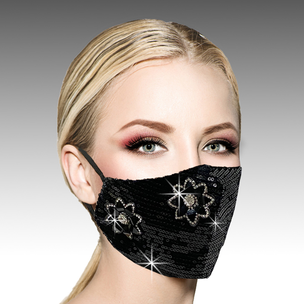 FM-11-Disco-B ( 1pc Superior Quality Designer Face Mask With Elegant Sequin And Crystal Flowers, With Adjustable Ear Loops )