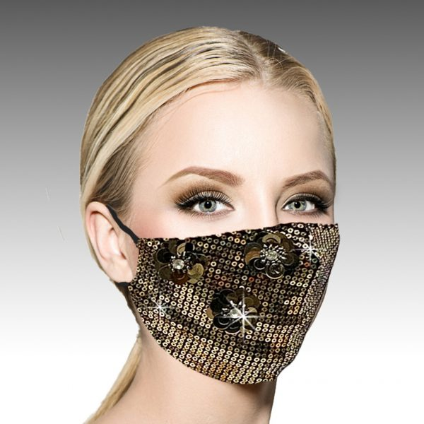 FM-11-Disco-G ( 1pc Superior Quality Designer Face Mask With Elegant Sequin And Crystal Flowers, With Adjustable Ear Loops )