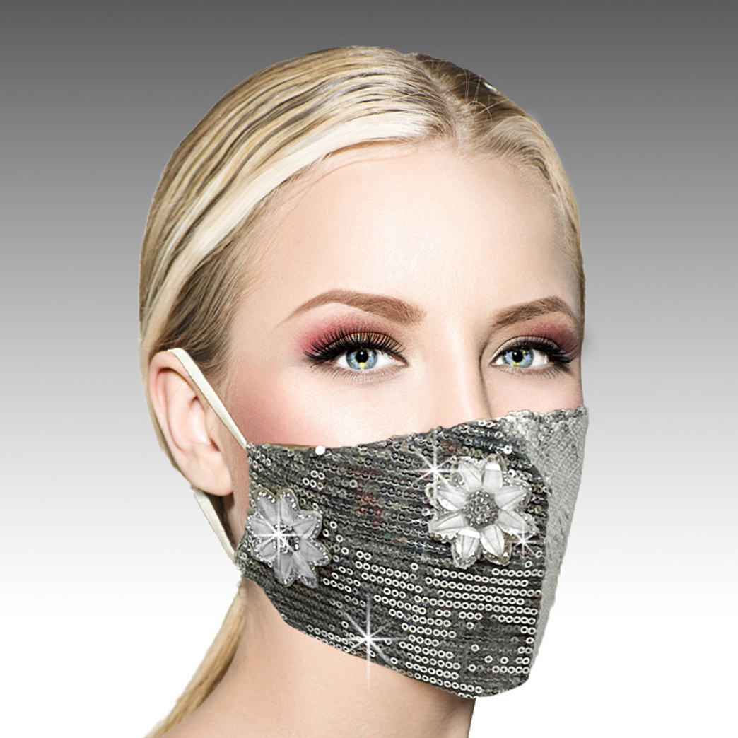 FM-11-Disco-S ( 1pc Superior Quality Designer Face Mask With Elegant Sequin And Crystal Flowers, With Adjustable Ear Loops )