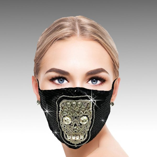 FM-12-Toussaints ( 1pc Superior Quality Designer Face Mask With Beautiful Crystal Skull And Sequin Spangles, With Adjustable Ear Loops )