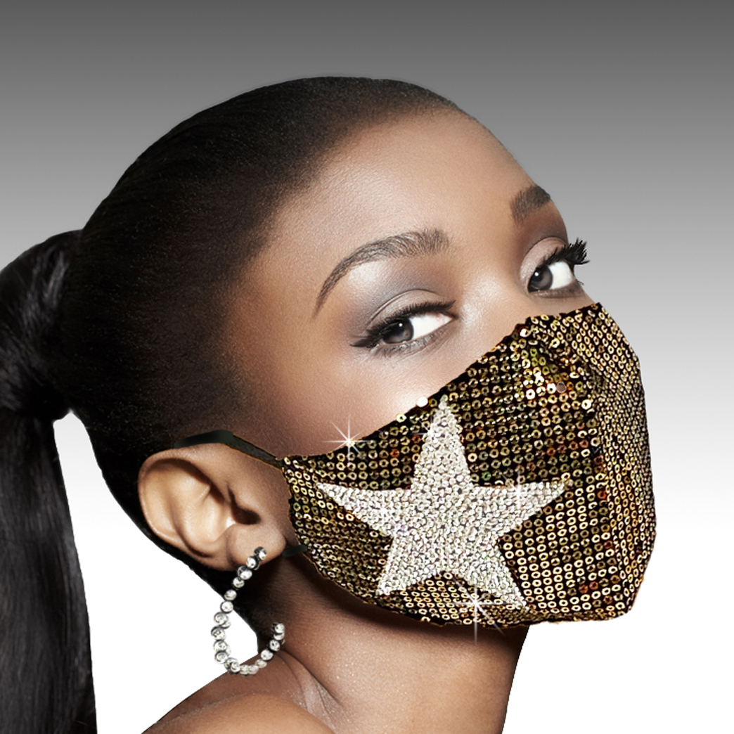 FM-14-Stars And Spangles-G ( 1pc Superior Quality Designer Face Mask With Bold Crystal Star And Sequin Spangles, With Adjustable Ear Loops  )