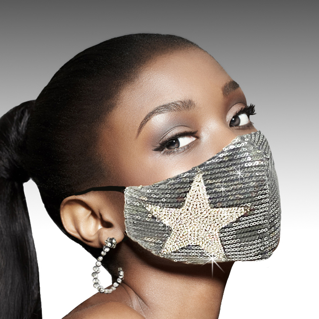 FM-14-Stars And Spangles-S ( 1pc Superior Quality Designer Face Mask With Bold Crystal Star And Sequin Spangles, With Adjustable Ear Loops )