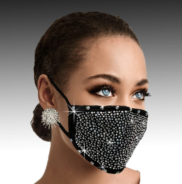 FM-15-Crystal Caviar-B ( 1pc Superior Quality Designer Face Mask With Elaborate Silver Crystal Design, With Adjustable Ear Loops  )
