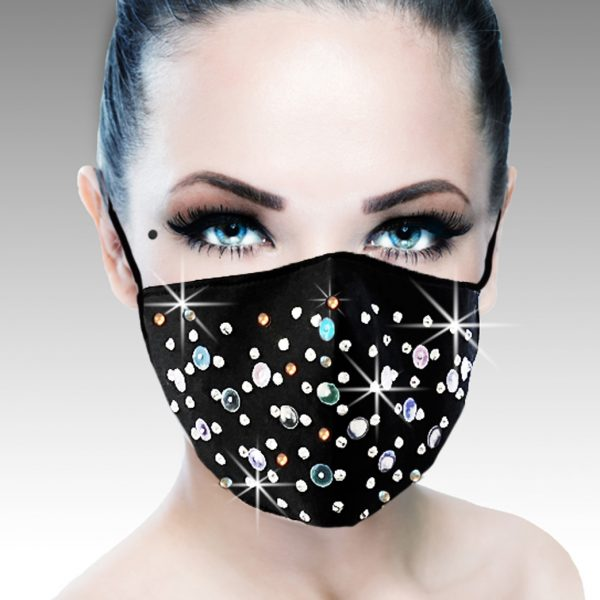 FM-16-Stardust ( 1pc Superior Quality Designer Face Mask With Aurora Crystal Stones And Sequins Pattern, With Adjustable Ear Loops )