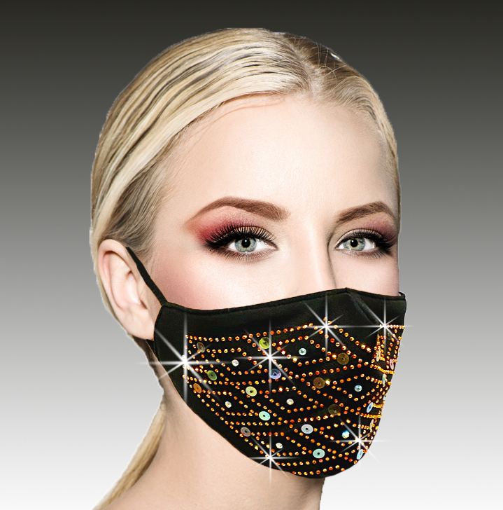 FM-17-Fire And Ice ( 1pc Superior Quality Designer Face Mask With Fiery Crystals And Icy Pearls, With Adjustable Ear Loops )