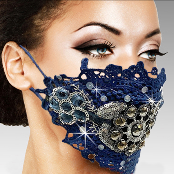 FM-23-MELISSA-NA ( 1pc Superior Quality Designer Face Mask With Stunning Hand Croched And Stoned Pattern, With Adjustable Ear Loops )