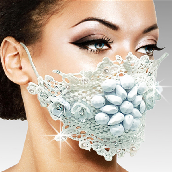 FM-23-MELISSA-WHT ( 1pc Superior Quality Designer Face Mask With Stunning Hand Croched And Stoned Pattern, With Adjustable Ear Loops )