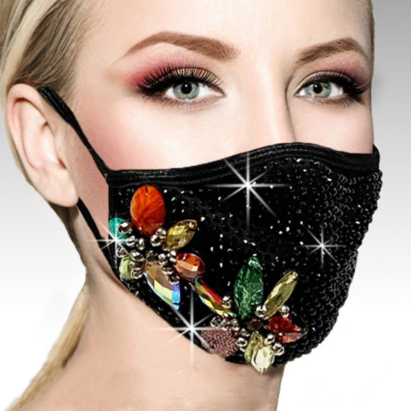 FM-24-AMDROMEDA ( 1pc Superior Quality Designer Face Mask With With Stunning, Hand Applied Multi Jewel Pattern, And Adjustable Ear Loops )