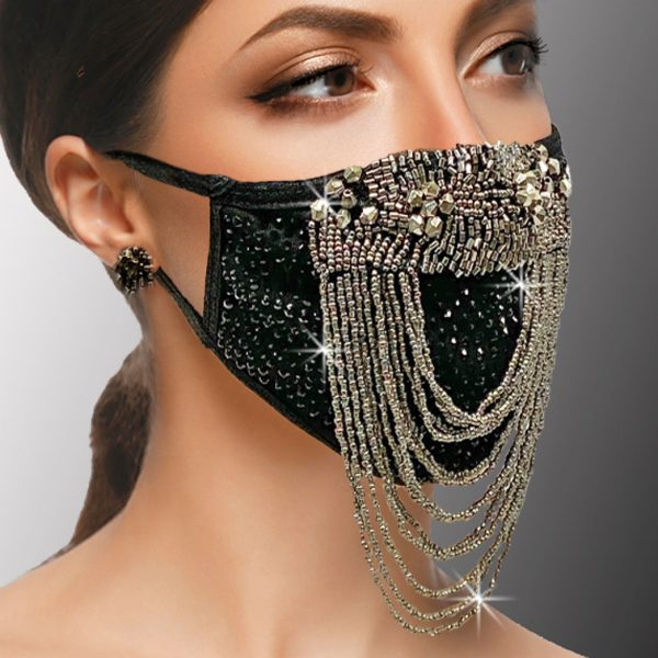 FM-25-HAMMURABI ( 1pc Superior Quality Beaded Festoon Designer Face Mask With Gunmetal Beads And Adjustable Ear Loops )