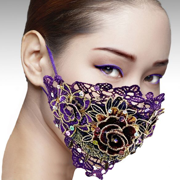 FM-26-GEISHA ( 1pc Superior Quality Artfully Embroidered Plum Designer Face Mask, With Adjustable Ear Loops )