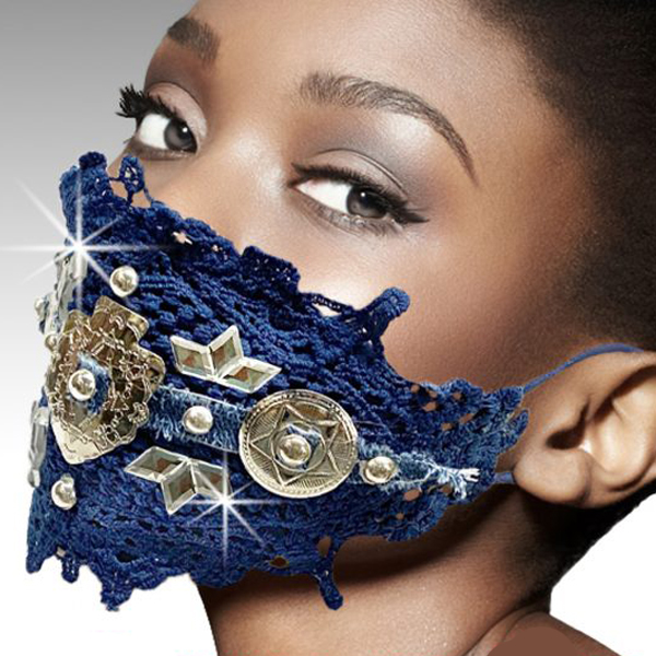 FM-28-FIRST NATION ( 1pc Superior Quality Denim Trimmed Designer Face Mask Adorned With Native Silver Conchos, With Adjustable Ear Loops )