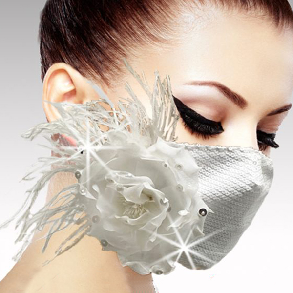 FM-29-DOVE-WH ( 1pc Superior Quality Designer Face Mask Adorned With Sequins, A Jewel Sprinkled Camelia And A Halo Of Ostrich Feathers, And Adjustable Ear Loops )