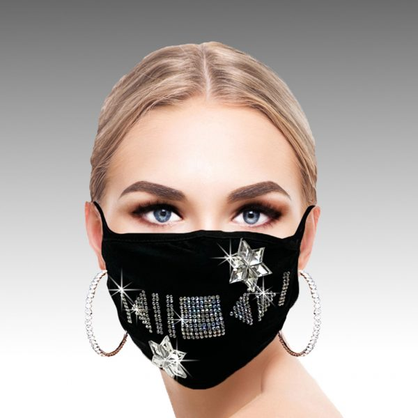FM-05-Icon ( 1pc Superior Quality Designer Face Mask With Playful Crystal Icon Design, With Adjustable Ear Loops )