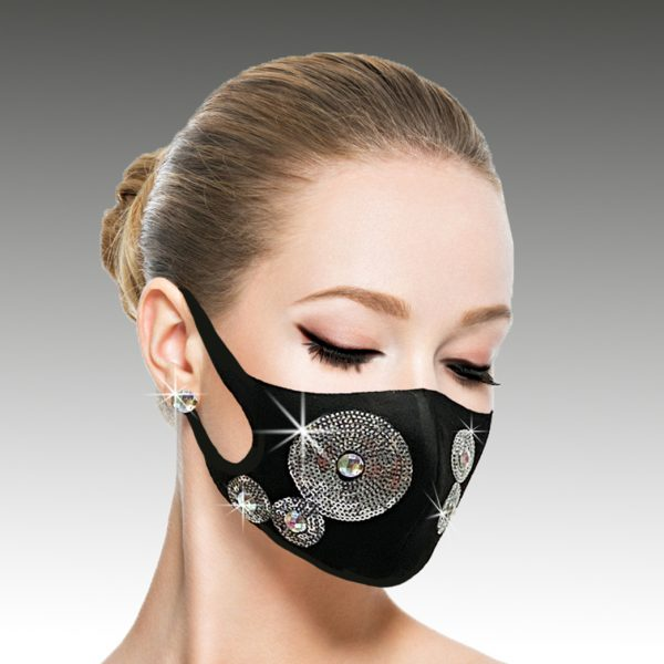 FM-22-Galaxy ( 1pc Superior Quality Designer Face Mask With Sequin Orbital Pattern, With Adjustable Ear Loops )