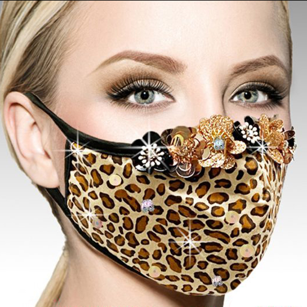 FM-30-BENGAL ( 1pc Superior Quality Designer Face Mask With Leopard Print And A Row Of 60's Inspired Paillette Flowers, And Adjustable Ear Loops )