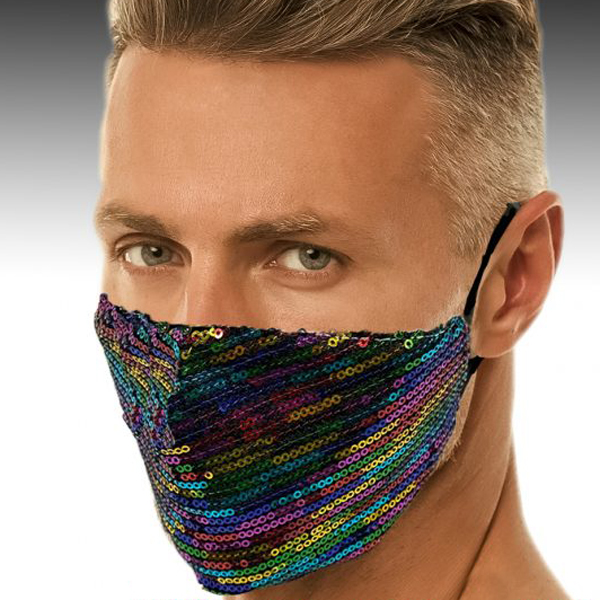 FM-34-Rainbow ( 1pc Superior Quality Designer Face Mask Embellished With Beautiful Multi Colored Sequins )